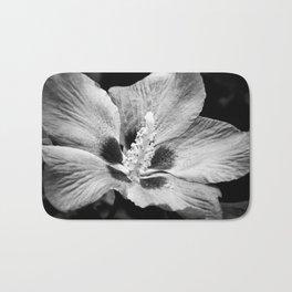 Black and white hibiscus Bath Mat