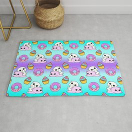 Cute happy playing cuddling funny Kawaii pink baby kittens, sweet pink donuts, yummy colorful cupcakes pretty fantasy bright rainbow purple blue design. Nursery decor. Rug