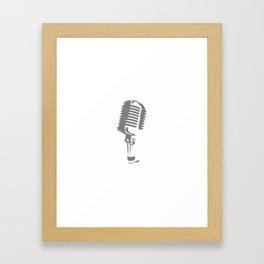 Microphone Silhouette Grey Framed Art Print