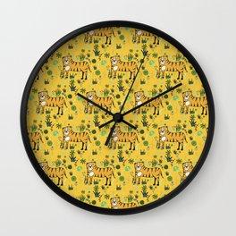 Jungle Tiger Yellow Wall Clock