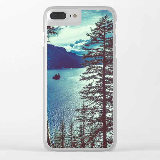 Crater Lake Vintage Summer Clear iPhone Case