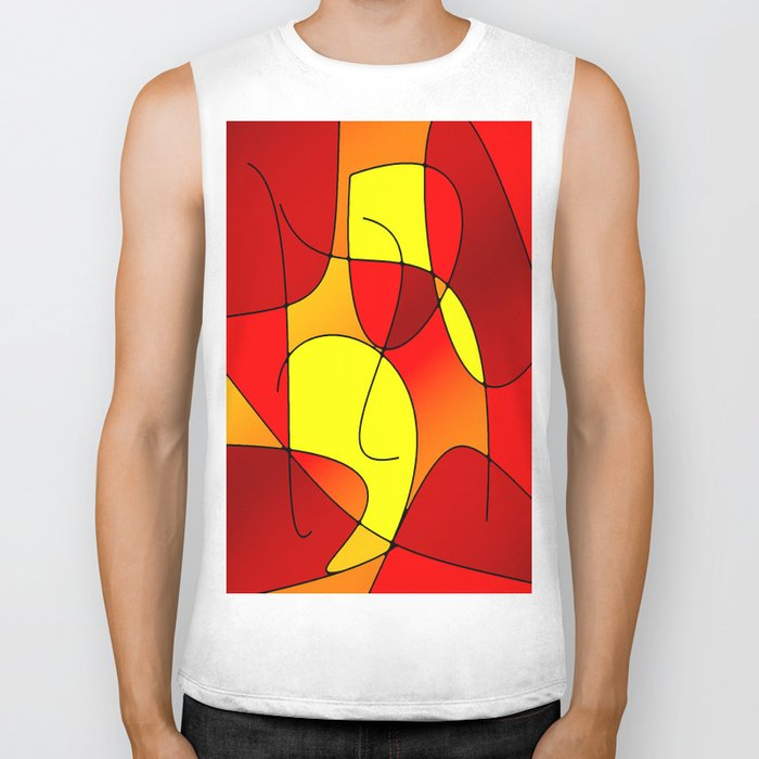 ABSTRACT CURVES #1 (Reds, Oranges & Yellows) Biker Tank