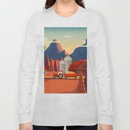 Rural Farmland Countryside Landscape Illustration Long Sleeve T-shirt