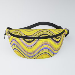 yellow purple blue wavy striped pattern Fanny Pack