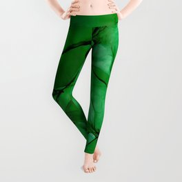 Deep Green Abstract: Original Alcohol Ink Painting Leggings