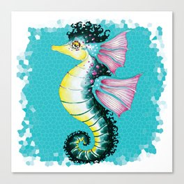 Seahorse Teal Stained Glass Pattern Canvas Print