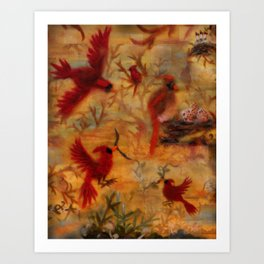 The Cardinal Tree Collage Art Print