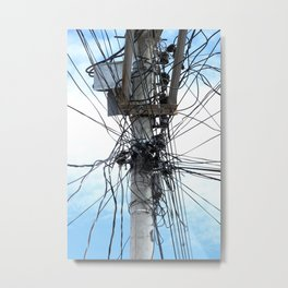 Power Lines on a Pole Metal Print