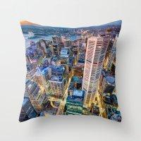 sydney Throw Pillows featuring Sydney by Gareth Cooper