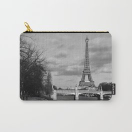 Eiffel Tower Black & White Carry-All Pouch