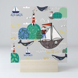 Pirates Ahoy Grey Mini Art Print