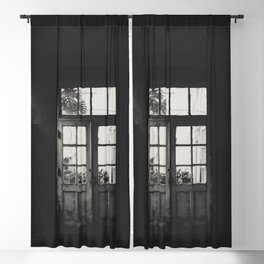 GRAYSCALE PHOTO OF WOODEN FRAMED CLEAR GLASS DOOR Blackout Curtain