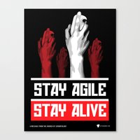 pivot Canvas Prints featuring Stay Agile Stay Alive - SCRUM Poster by Visage