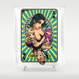 Sexy GIRL ON ACE with Tattoo - VIOLET Shower Curtain