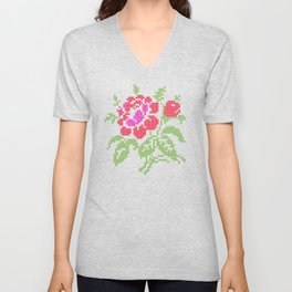 Embroidered red rose Unisex V-Neck