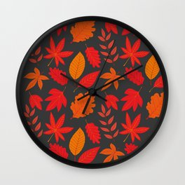 Red autumn leaves Wall Clock