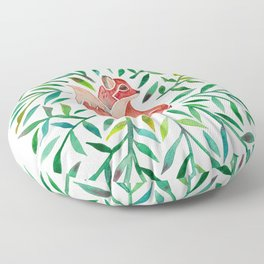 Woodland Fox – Green Leaves Floor Pillow