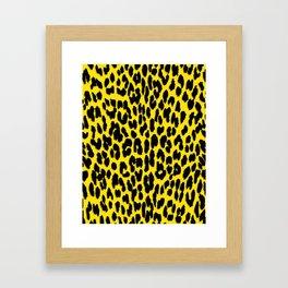 Bright Yellow & Black Leopard Print Framed Art Print