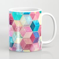 crystal Mugs featuring Topaz & Ruby Crystal Honeycomb Cubes by micklyn