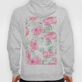 Watercolor Peonie with greenery Hoody
