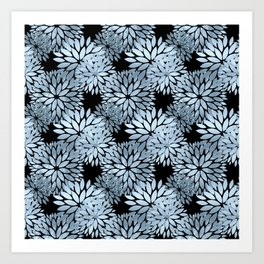 Pretty Blue Mum Floral Pattern Art Print