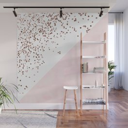 Modern pink watercolor color block rose gold confetti Wall Mural
