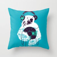 budi Throw Pillows featuring Record Bear by Picomodi