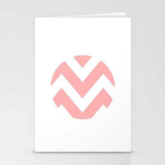 WHITE CIRCLE CHEVRON 2 Stationery Cards