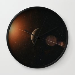 Large gas planet with ring system of ice particles orbiting red giant. Outer Space, Cosmic Art and S Wall Clock