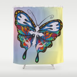 Christianity Themed Butterfly Art Shower Curtain
