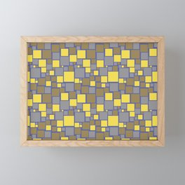 Gray Yellow Brown Blue Funky Mosaic Pattern V11 Pantone 2021 Colors of the Year & Accent Shades Framed Mini Art Print