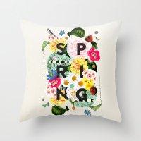 spring Throw Pillows featuring SPRING by Dawn Gardner
