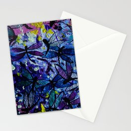 Dragonflies Flying in a Colorful Sky with Happy Yellow Highlights Delight by annmariescreations Stationery Cards