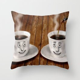Hot Coffee Time in the Kitchen Throw Pillow
