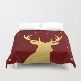 Gold Xmas Deer Duvet Cover