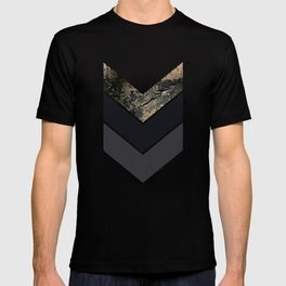 Scandinavian Gold Concrete Black Gray Geometric Pattern T-shirt