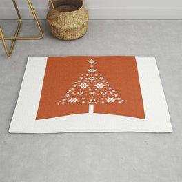 Christmas Tree Made Of Snowflakes On Orange Background Rug