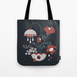 Dark Funky Flowers Tote Bag