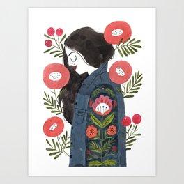 Hippie Girl Art Print