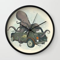 beastie boys Wall Clocks featuring Beastie of the Deep by Clinton Jacobs