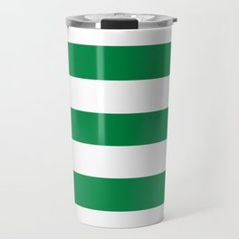 Philippine green - solid color - white stripes pattern Travel Mug