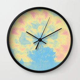 Surreal butterflies and landscape on mandala Wall Clock