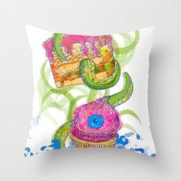 cupcake monster Throw Pillow