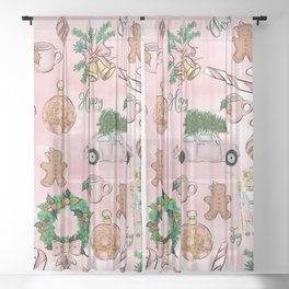 THE VERY PINK CHRISTMAS WATERCOLOR PATTERN Sheer Curtain