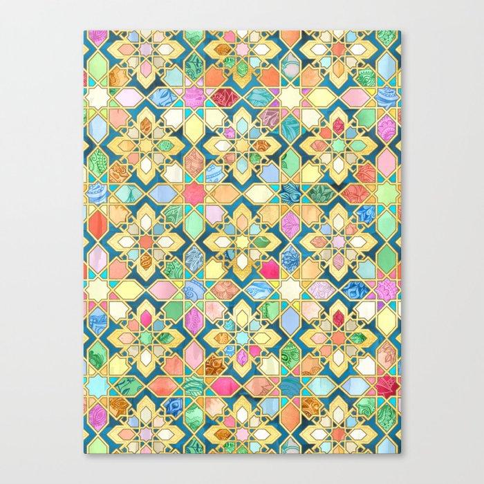 Gilded Moroccan Mosaic Tiles Leinwanddruck