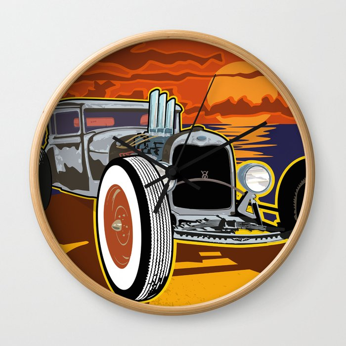 Hot Rod at Sunset Beach Wall Clock