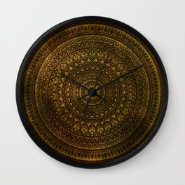 Lime Brown Mandala Wall Clock