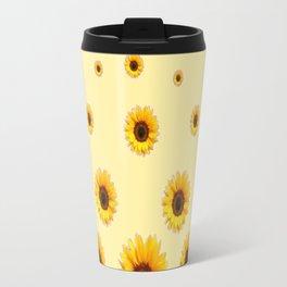 RAINING SUNFLOWERS FLOWERS CREAMY BROWN ART Travel Mug
