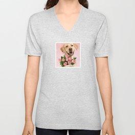 Happy Dog with Roses Unisex V-Neck