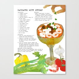 Gazpacho Recipe and Collage Illustration Canvas Print
